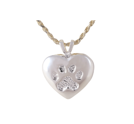 Silver Heart with Paw Print Pendant - Lockets & Keepsakes - Pets in Peace