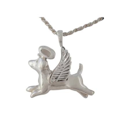 Silver Dog with Wings Pendant - Lockets & Keepsakes - Pets in Peace