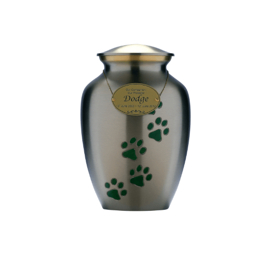 Brass Silver Urn With Jade Paw Print - Pets in Peace