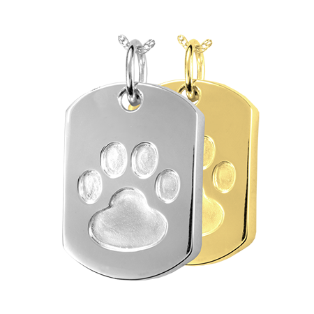 Paw Print Dog Tag Pendant Pets In Peace